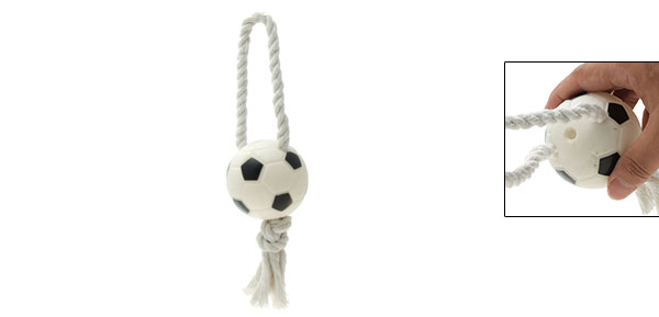 Puppy Soccer Ball Design Squeaky Rope Tug Dog Toy White Black