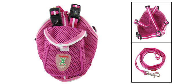 Pet Dog Cat Backpack Harness with Leash Set Size S
