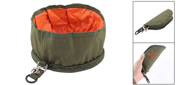Collapsible Fabric Travel Dog Pet Food Water Bowl Holder
