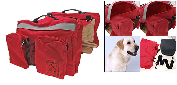 Multifunctional Red Pet Dog Camping Hiking Saddle Bag Backpack Carrier Bag