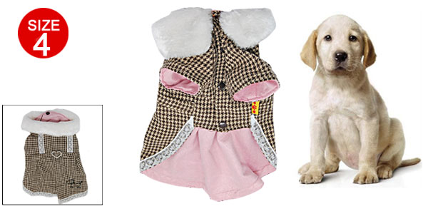 Doggie Puppy Winter Skirt Dress with Houndstooth Check Pattern and Fur Collar Size 4