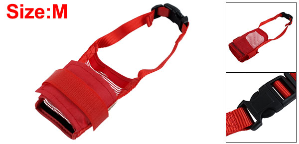 Size M Anti Bark Bite Chew Muzzle Mask Red Soft Mesh for Pet Dog