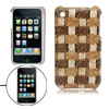 Plastic Case W/Leather Coated Grass Pattern Shield for Apple iPho...