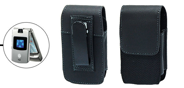 Cellphone Black Leather Magnet-clasped Case Cover for Motorola RAZR V3