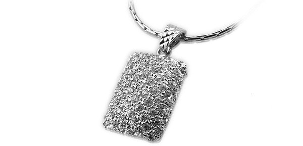Charming Silvery Rhinestone Inlay Necklace Quadrate Pendant