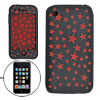 Red Star Pattern Black Silicone Case for iPhone 3G