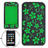 Green Flowers Black Silicone Skin Cover for iPhone 3G