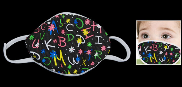 Alphabet Printed Black Cute Children Face Mouth Mask