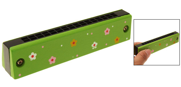 Green Wooden Echo Double 16 Holes Harmonica