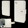 Wallet Style Clip Fastener White Leather Case Cover for iPhone 3G