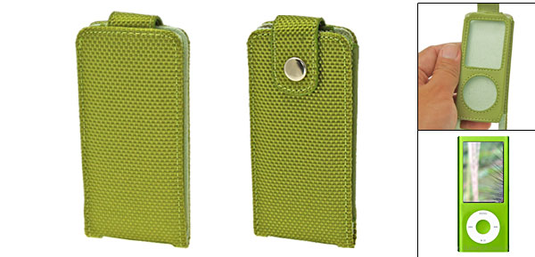 Fabric Leather Case Cover Green for iPod Nano 4th Generation 4G