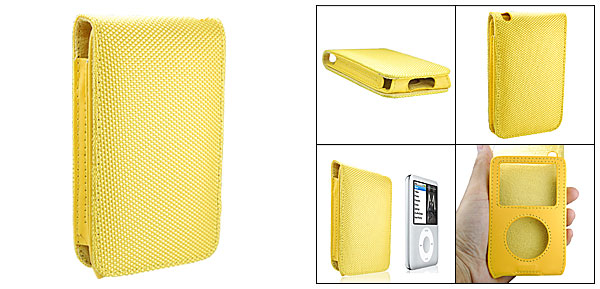 Yellow Leather Case with Fabric Surface for iPod Classic 80GB 120GB
