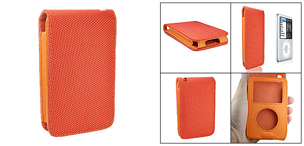 Orange Leather Case Fabric Cover for iPod Classic 80GB 120GB
