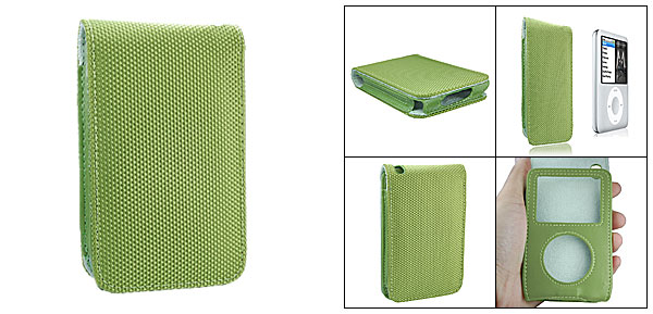 Green Leather Case with Fabric Cover for iPod Classic 80GB 120GB