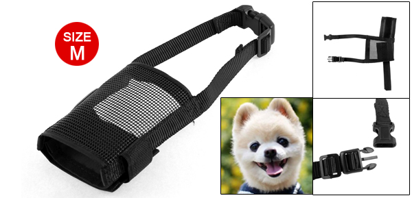 Puppy Pet Adjustable Snout Strap Soft Mesh Dog Muzzle Size M for Barking Biting