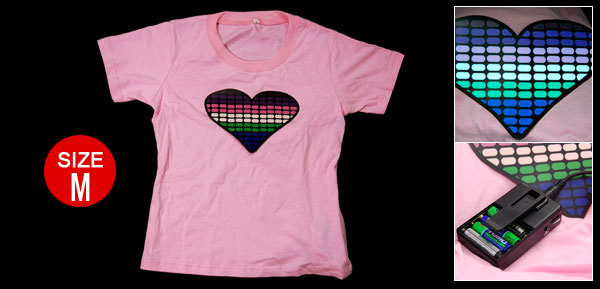 Pink Ladies' T-Qualizer Flash EL T-shirt with Heart Panel