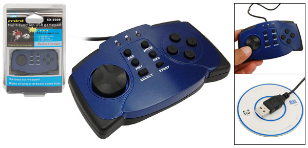 Blue Multi-purpose 3-In-1 PC Laptop USB Gamepad Game Controller