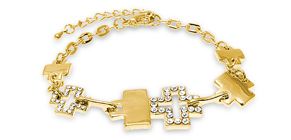 Fashion Golden Color Chain Lady's Bracelet w Rhinestone