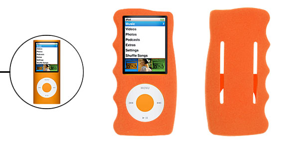 Silicone Skin Case Orange Cover for iPod Nano 4G 4th Gen