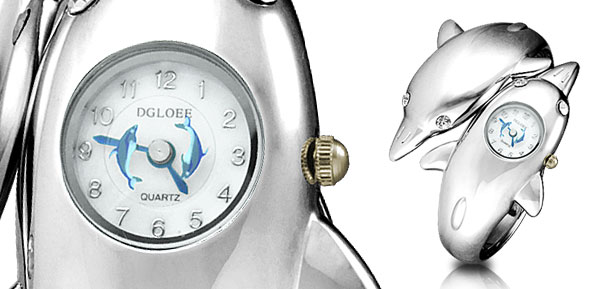 Silvery Dolphin Shape Ladies' Quartz Bracelet Watch