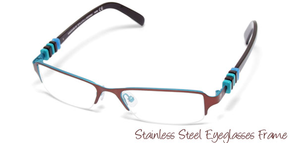 Stainless Steel Semi-rim Eyeglasses Frame