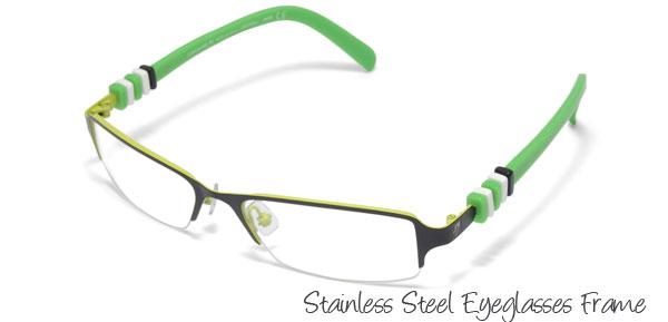 Style Stainless Steel Semi-rim Eyeglasses Eyewear Frame