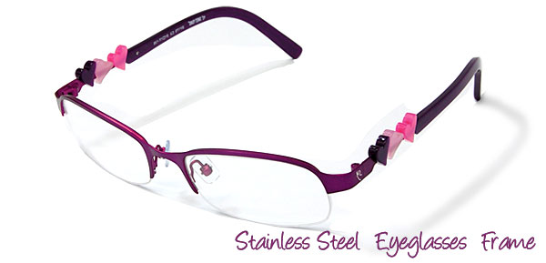 Purple Stainless Steel Semi-rim Eyeglasses Frame