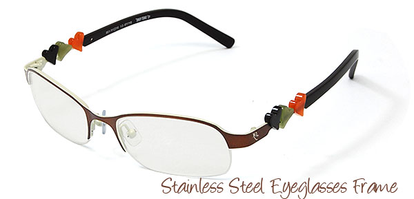 Cute Semi-rim Stainless Steel Eyeglasses Frame