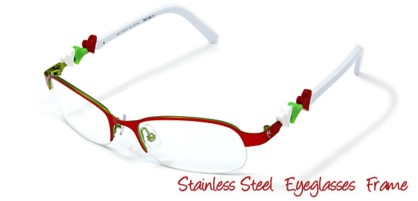 Cool Stainless Steel Semi-rim Eyeglasses Frame for Ladies