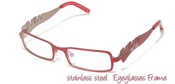 Red Girls' Stainless Steel Optical Eyeglasses Frame
