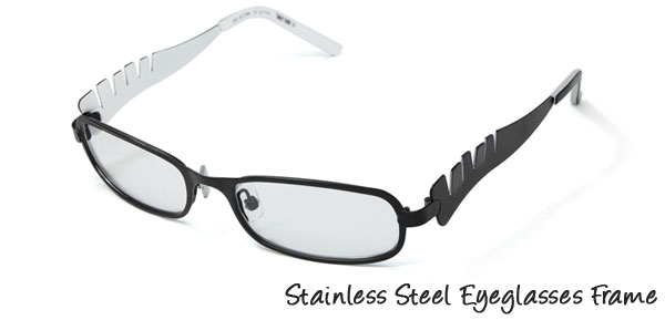 Black Children's Stainless Steel Optical Eyeglasses Frame