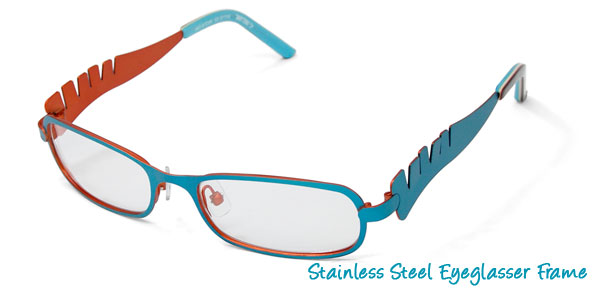 Stainless Steel Girls' Optical Eyeglasses Frame Blue