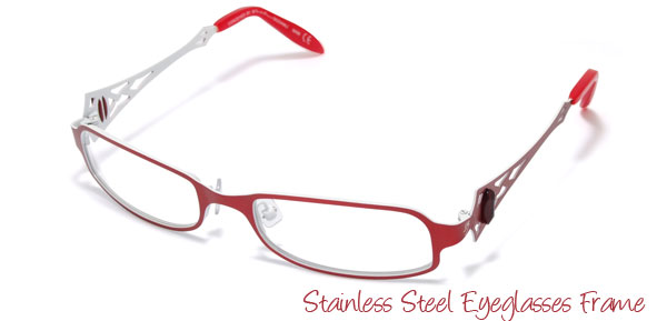 Red Women's Fashion Full Rim Stainless Steel Eyeglasses Frame