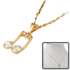 Music Note Rhinestone Pendant Charming Golden Fashion Necklace