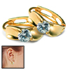 Pair Golden Earrings w. Glittery Rhinestone Design for Lady