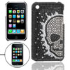 Skull Crystal Beads Plastic Back Case for iPhone 3GS