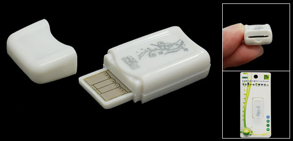 White USB 2.0 Micro SD T-Flash Mini Memory Card Reader