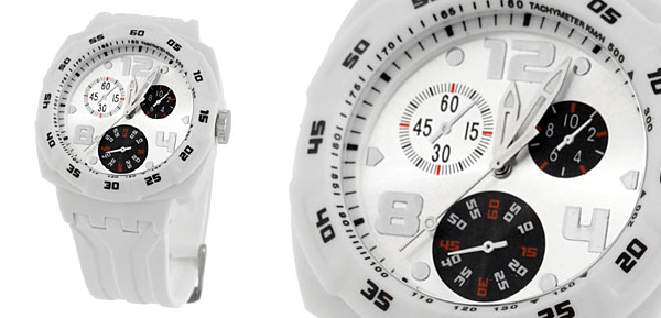 Cool White Plastic Band Round Dial Wristwatch for Youth