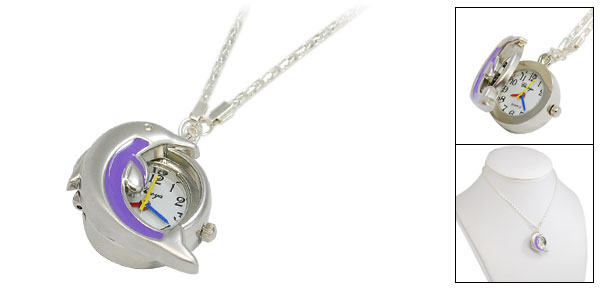 Dolphin Design Fashion Ladies Necklace Quartz Watch