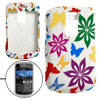 Flower Print Attractive Rubberized Plastic Case for Blackberry 90...