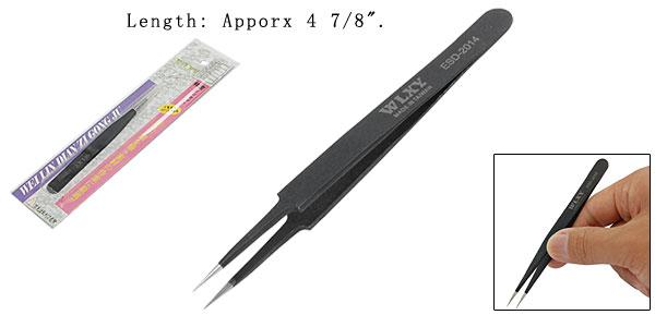 Straight Tip Black Extra Fine Point Metal Tweezer