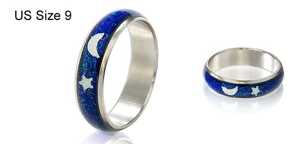 Color Change Mood Glittery Finger Ring US Size 9