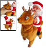 Musical Charming Ride On Deer Back Santa Claus Ornament Xmas Toy