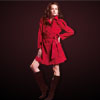 Red Women's Notch Collar Double Breasted Belted Coat Overcoat