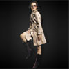 Fashion Single Breasted Notch Collar Belted Ladies' Trench Coat