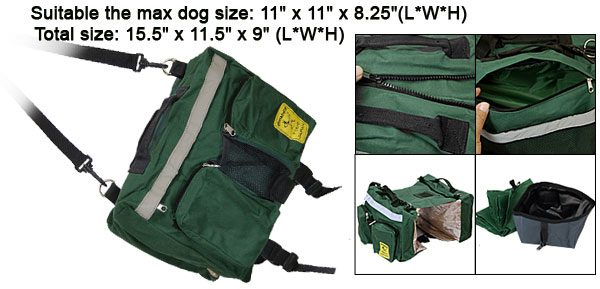 Dark Green Portable Pet Puppy Dog Carrier Travel Saddle Bag Backpack Holder
