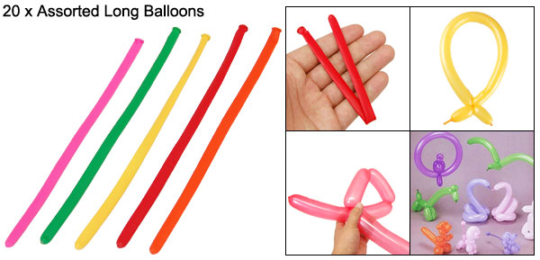 20 PCS Assorted Latex Long Balloons Party Favors