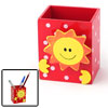 Smile Sun Red Wooden Pencil Pen Holder with Memo Clip