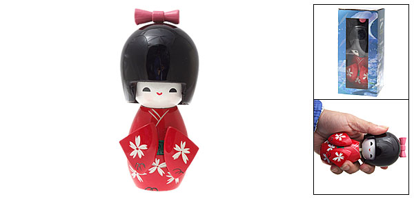 Red Kimono Decorative Japanese Kokeshi Wooden   Doll