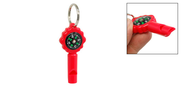 Multifunctional Red Compass Whistle with Key Ring